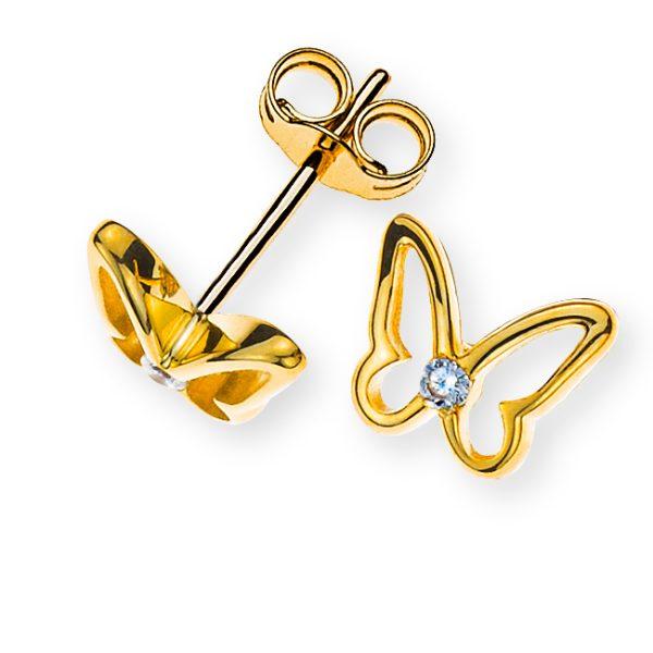 ohrstecker-schmetterling-gelbgold-375-mit-2-weissen-zirkonias-OZI8007