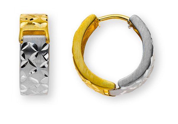 kreolen bicolor-gelb-weissgold-750-satiniert-mit-musterschliff-OGO4143
