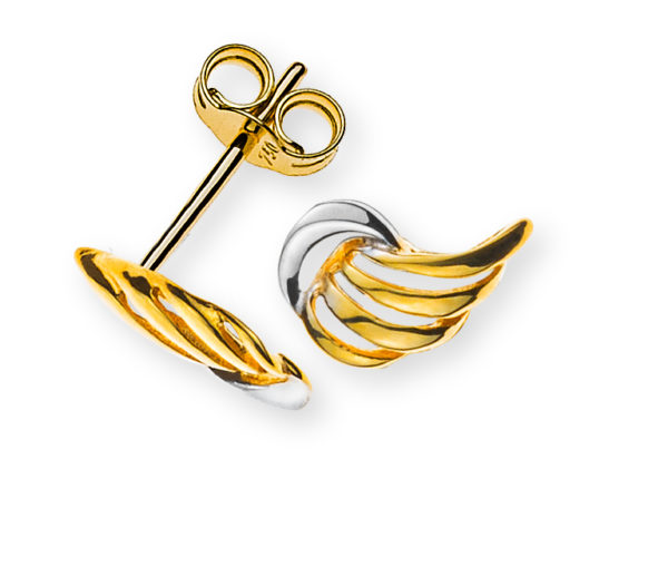 ohrstecker-flügel-gelbgold- 750-teilrhodiniert-poliert-OGO1151