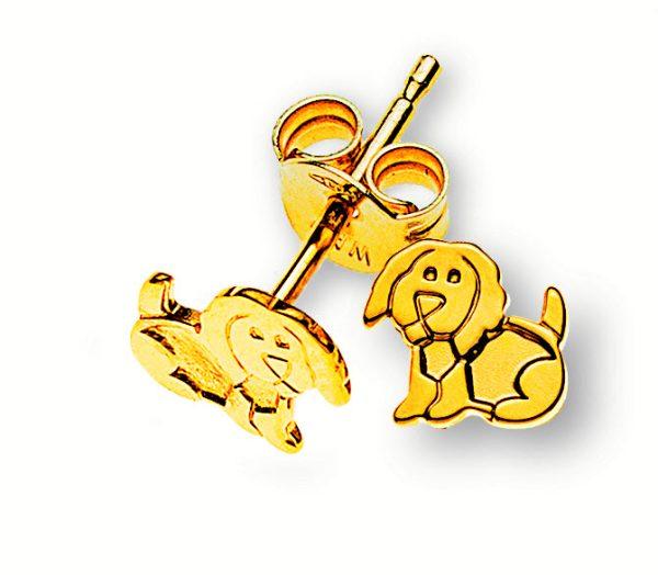 ohrstecker-hund-gelbgold-375-OGO8002