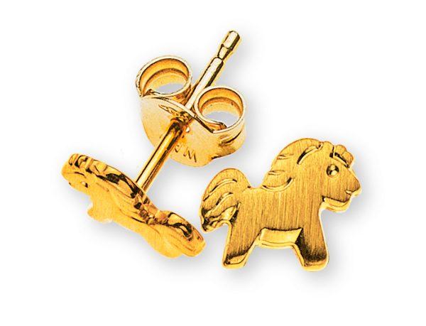 ohrstecker-pferd-gelbgold-750-gesandelt-OGO1054