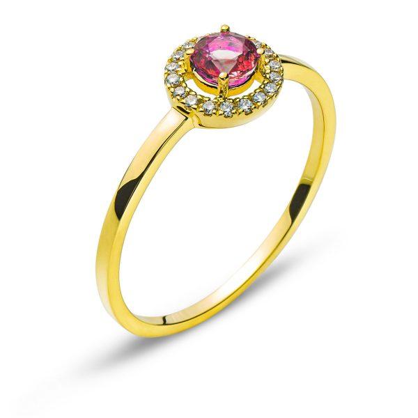 Ring-Gelbgold-750-Mit-Rundem-Rubin-0.31ct.-RFA1153-1