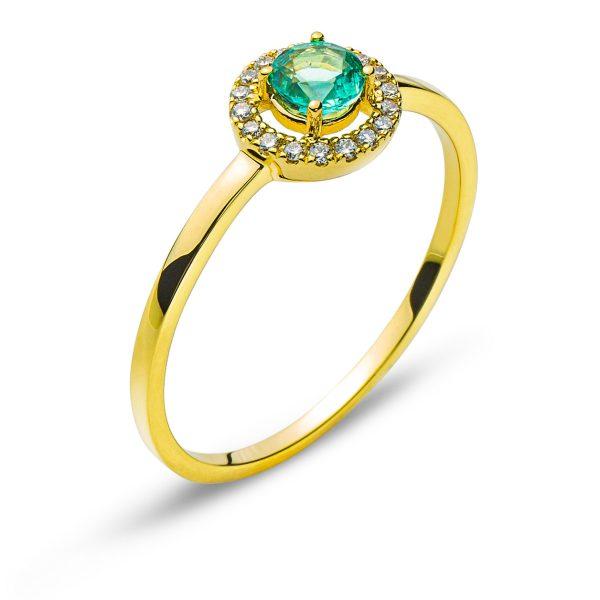 Ring-Gelbgold-750-Mit-Rundem-Smaragd-0.24ct.-RFA1154-1
