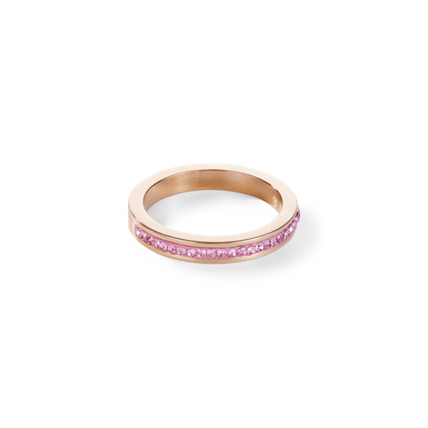 Ring schmal Edelstahl rosegold & Kristalle Pavé hellrosa 022940192052